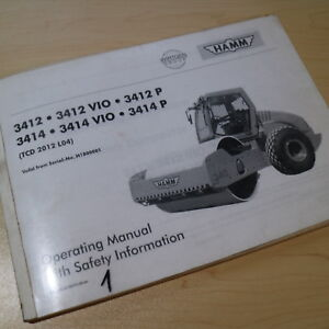Hamm 3412 3414 Smooth Drum Steel Roller Operation Operator Manual Compactor Book