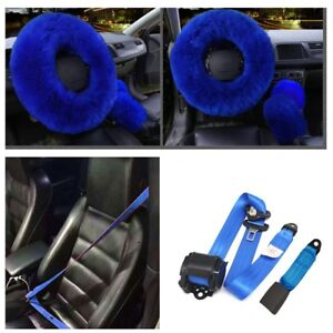 3pcs set Fur Car Steering Wheel Cover Retractable 3 Point Safety Seat Lap Belt