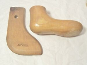 Two Antique Child Wood Forms Molds For Foot Shoe Sock Dated And Signed