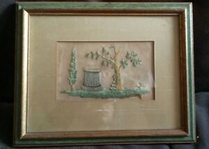 Antique Victorian Pedistal Ivy Needlepoint Embroidery On Rice Paper Mourning