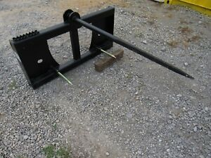 Quick Tach Tractor Loader Skid Steer Hay Bale Spear Fork Attachment Ship 149