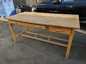 Vintage Drafting Work Table Large Maple Work Center