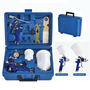 2 Pcs Hvlp Air Spray Guns Kit Auto Paint Car Primer Basecoat Clearcoat W Case