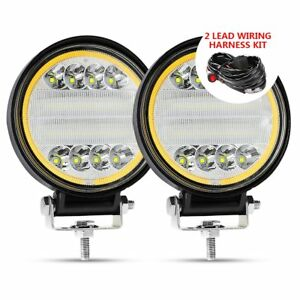 2pc 72w Led Work Light Fog Lamp Truck Offroad Tractor Combo 12v 24v Round Wiring