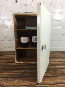 Vintage Bathroom Wall Cabinet Made In Poland Retro Wooden First Aid Cupboard
