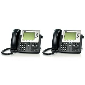 Lot Of 2 Cisco 7960 Cp 7960g Ip Voip Handset And Office Business Desktop Phone
