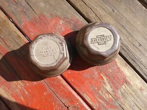 Brass Chevrolet Threaded Screw On Hubcap Pair Axle Grease Dust Cover