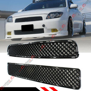 For 05 10 Scion Tc Glossy Blk Jdm Front Hood Abs Mesh Upper Lower Grill Grille