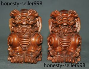 Chinese Boxwood Wood Hand Carved Fengshui Lion Foo Dog Guard Beast Statue Pair
