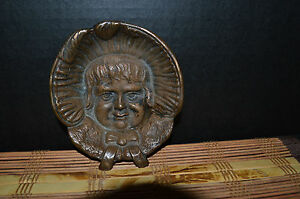 Antique Vintage Heavy Small Bronze Girls Face Dish Bowl Footed 4 3 4 X1