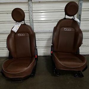 16 17 Fiat 500 Brown Leather Front Driver Passenger Seats With Airbags Oem Lkq