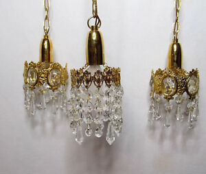 3 Vintage Hanging Pendant Lights Brass Crystal Mini Chandelier French Basket