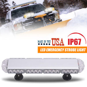 Amber White 56 Led Warning Strobe Light Bar Roof Top Beacon Flash Emergency Lamp