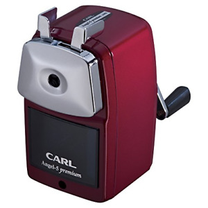 Carl Hand Crank Pencil Sharpener Angel 5 Premium Made In Japan A5pr r Sharp Red