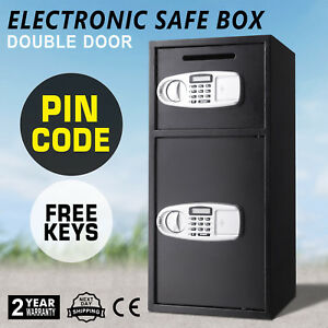 New Double Door Cash Office Security Lock Digital Safe Depository Drop Box
