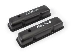 Edelbrock Signature Series Black Valve Covers 4623 Ford Fe V8 Black Powdercoated