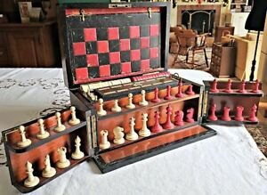 C1880 Rosewood English Compendium Game Box With Multiple Games Lock