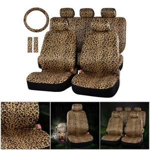 Luxury 13pc Universal Leopard Print Soft Plush Auto Car Seat Cover Protector Set