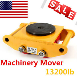 6t Heavy Machine Dolly Skate Roller Machinery Mover Cargo Trolley 13200lb Top