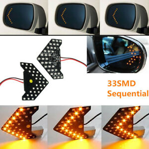 2 Amber 33 Smd Sequential Led Arrows For Car Side Mirror Turn Signal Lights