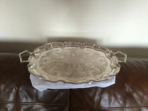 Lovely Cavalier 2 Handled Silver Plated Wavey Oval Butlers Tray 21 25 X 14
