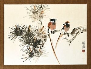 Vintage Chinese Painting Birds Signed W Inscriptions And Seal Marks