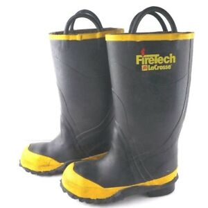 Firetech Lacrosse Size 6 Medium Firefighter Bunker Boots Steel Toe Turnout Gear