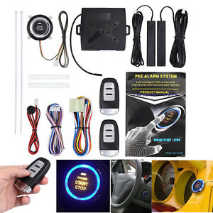 Car Alarm Start Push Button Remote Starter Keyless Security Entry System Kit New