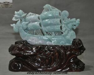 China Natural Emerald Jade Jadeite Carved Plain Sailing Dragon Boat Ship Statue