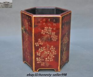 7 Qianlong Marked Old Chinese Dynasty Lacquerware Wood Brush Pot Pencil Vase Jar