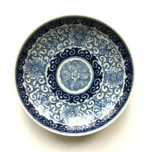 Antique Chinese Qing Jiaqing Blue White Porcelain Dish Plate Flower Gen Stilwell