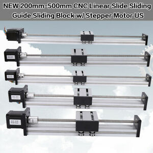 200 500mm Cnc Linear Actuator Stage Lead Screw Slide Rail Guide 42 Stepper Motor