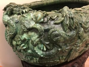 Huge Unique Antique Spinach Colored Chinese Jade Bowl