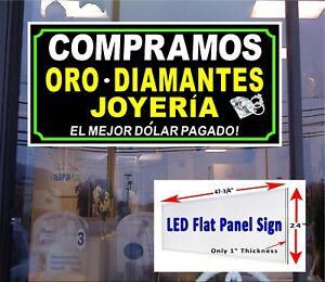 We Buy Gold Diamonds Jewelry In Spanish Led Window Sign 48x24 Led Sign