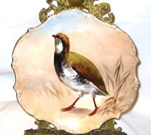 Antique Limoges France Hand Painted Game Bird Charger Plate Artist Signed