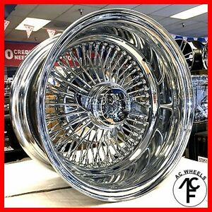 13x7 Reverse 72 Spoke Wire Wheels Straight Lace Chrome Rims