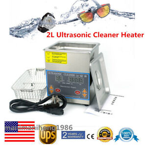 Stainless 60w Digital Ultrasonic Cleaner 2l Tank Heater Cleaning Timer Basket Us