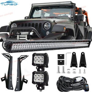 For Jeep Wrangler Jk 50 52 700w Led Work Light Bar 2x Pods Cube mount Bracket