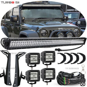 Jeep Wrangler Jk 52 700w Led Work Light Bar 4x Pods Cube mount Bracket switch