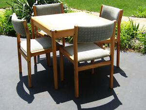 Vintage Danish Mid Century Dining Table Chairs Set Moller Hojbjerg Of Denmark