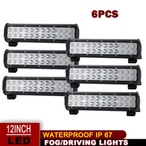 6x 12inch 72w Led Work Light Bar Flood Offroad Atv Fog Truck Lamp 4wd 12v 6