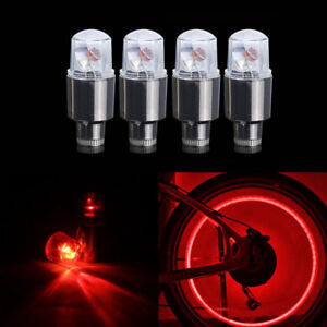 4pcs Red Led Dragonfly Car Bike Wheel Tyre Tire Air Valve Stem Cap Light Lamp