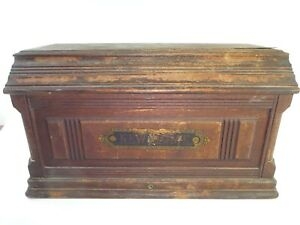Vintage New Home Treadle Sewing Machine Wooden Coffin Top Cover