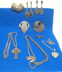 Vintage Lot Of 9 Sterling Silver Misc Pieces Scrap Or Not