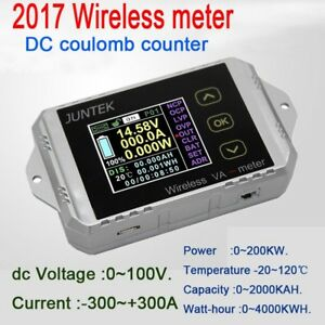 300a Wireless Dc Coulomb Meter Volt Amp Power Battery Monitor Capacity Kwh Watt