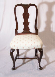 Early English Queen Anne Upholstered Side Desk Chair Mahogany C1750 Comfortable