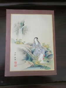 Two Chinese Silk Hand Paintings On Rice Paper C 1920 1945 Of Beautiful Women