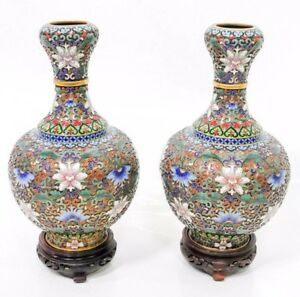 Chinese Vintage Antique Cloisonne Floral Vase One Pair With Wooden Base