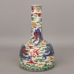 China Old Porcelain Qing Kangxi Doucai Hand Painting Dragon Bell Vase Decoration