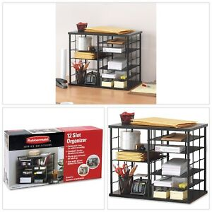 Compartment Organizer 12 Slot Black Desktop File Metal Frame Removable Shelves